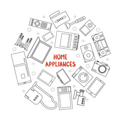 Home appliances line icon set. Kitchen and audio video objects