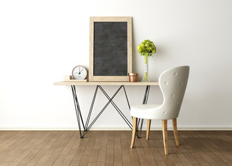 Living room interior design with chalkboard