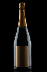 Champagne bottle on black background