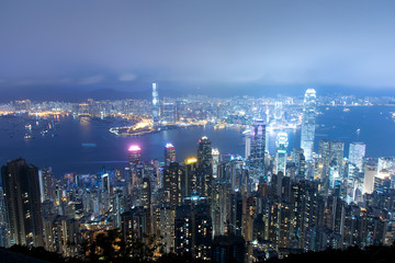 view of Hong Kong island building in night time
