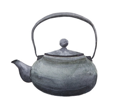 Japanese black cast iron teapot watercolor painting on white background