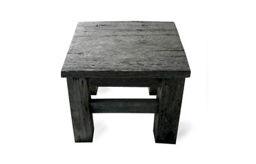 dark wooden stool on white background. clipping path. isolated