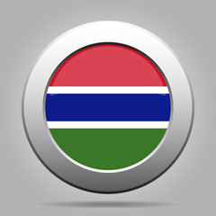 Flag of Gambia. Shiny metal gray round button.