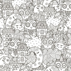 Good night seamless pattern for coloring book