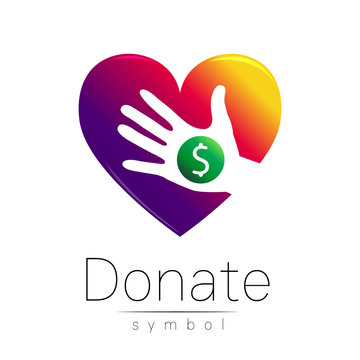 Donation sign icon. Donate money hand and heart. Charity or endowment symbol. Human helping. on white background. Vector.Violet color.