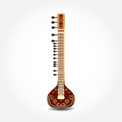 Vector illustration of sitar isolated on white background.