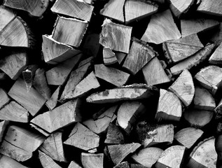 Pile of firewood in black and white