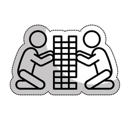 kids playing silhouette isolated icon vector illustration design