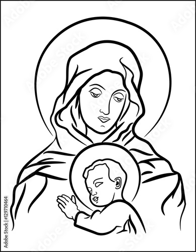 Line Drawing Virgin Mary : Quot black and white illustration of the virgin mary with baby