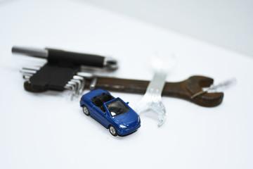 Abstract composition of broken car