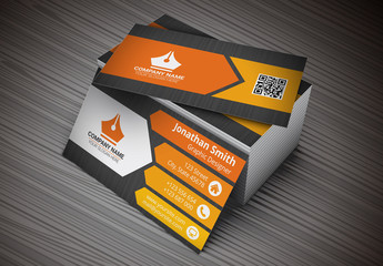 Business Card with Orange Arrow Design Layout