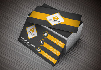 Business Card with Orange Tabs and Brushed Black Background Layout