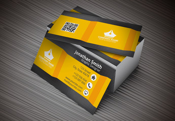 Business Card with Orange Folded Banner Design Layout