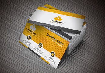 Business Card with Orange Dot Halftone Design Layout