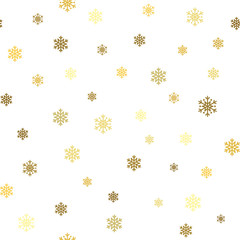 Christmas gold snowflake seamless pattern. Golden glitter snowflakes on blue and white diagonal lines background. Winter snow texture wallpaper. Symbol holiday, New Year Vector illustration