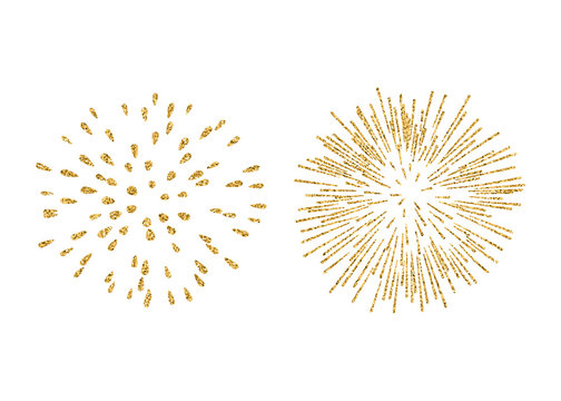 Fireworks set gold isolated. Beautiful golden fireworks on white background. Bright decoration Christmas card, Happy New Year celebration, anniversary, festival. Flat design Vector illustration