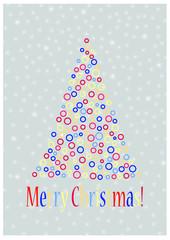 Stylised Christmas Tree, Merry Christmas