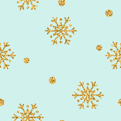 Christmas snowflake seamless pattern. Gold snow on blue background. Golden abstract wallpaper, wrapping texture. Symbol winter, Merry Xmas holiday, Happy New Year celebration. Vector illustration