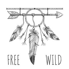 Native american accessory with arrow feathers and lettering free wild isolated on white. Vector illustration