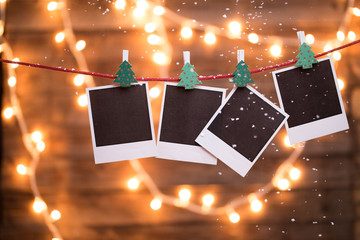 Empty instant photos with garland
