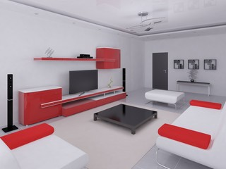 Modern living room with hi-tech furnishings.