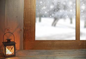 Winter snow through window