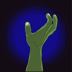 Cartoon zombie hands. Vector clip art illustration. Hand drawn Halloween  Horror  for your design.