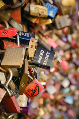 Closeup Locks on a bridge