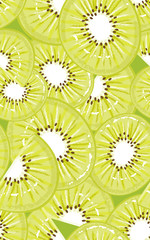 Seamless pattern with slices of kiwi