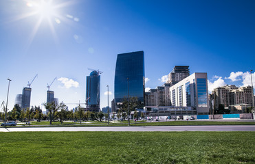 New city park in Baku , capital of Azerbaijan.