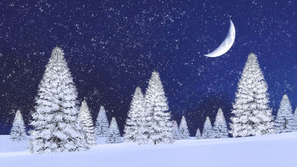 Wall Mural - Fairytale winter scenery with snowy firs among snowdrifts and fantastic big half moon in night sky at snowfall. 3D illustration.