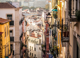 Architecture in the Old Town of Lisbon, Portugal.