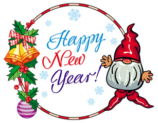 """Holiday label with funny gnome  and greeting text """"Happy New Year!"""""""