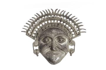 Traditional sun God mask isolated against white background