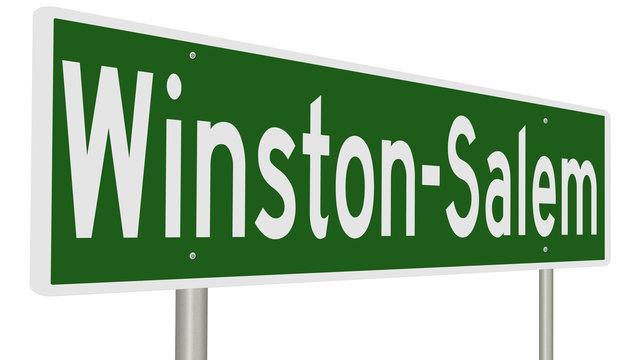 A 3d rendering of a green highway sign for Winston-Salem, North Carolina