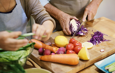 Keuken foto achterwand Koken Cooking Senior Couple Togetherness Concept
