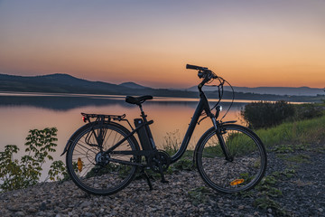 Electric bicycle in summer evening