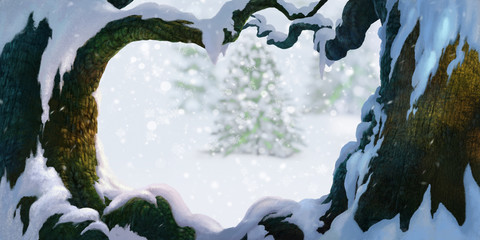 Snow on big tree foreground in pine forest Christmas tree painting illustration