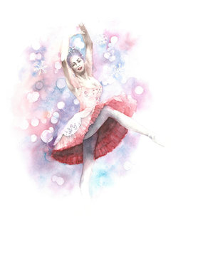 Ballerina dancer nutcracker fairy watercolor painting illustration greeting card isolated on white background