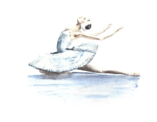 Ballerina dancer white swan swan lake dying swan watercolor painting illustration isolated on white background