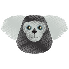 drawing black bearded saki animal brazil vector illustration eps 10