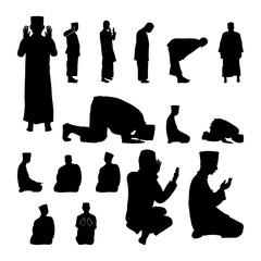 Set of Muslim Prayer Position Guide Perform Silhouette Illustration