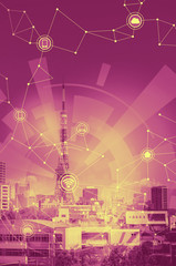 duo tone graphic of smart city and wireless communication network, Internet of Things, abstract image visual