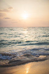 sea sunset, Scenic view of beautiful sunset above the sea vertical