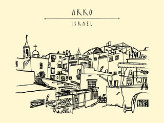 Akko, Israel. Travel sketch. Vintage artistic hand hand drawn postcard or poster
