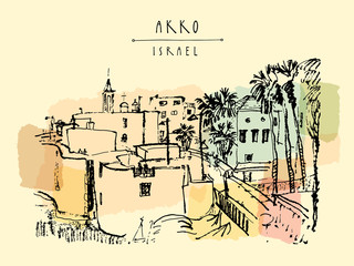 Panorama of Akko, Israel. Vintage artistic hand drawn postcard