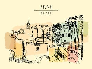 Panorama of Akko, Israel. Vintage artistic hand drawn postcard
