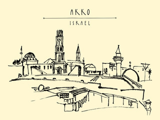Akko, Israel skyline with towers and temples.  Brush ink hand drawing . Vintage travel postcard