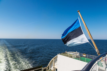 Estonian flag on a ship