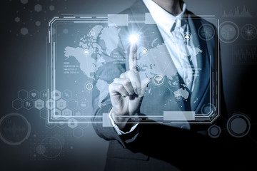 business person and graphical user interface, conceptual abstract